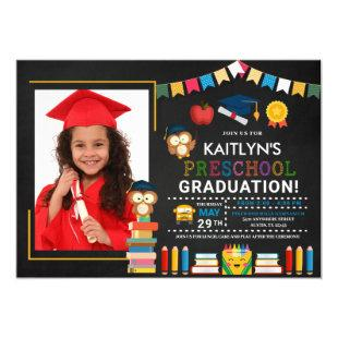 Preschool Photo Graduation Chalkboard Invitation