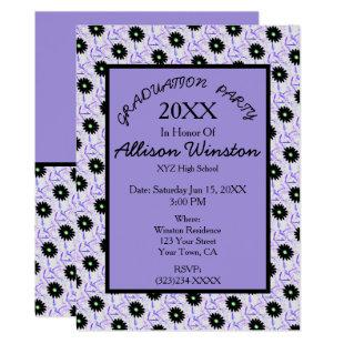 Pretty Black Flower on Purple White Graduation Invitation