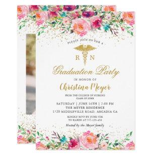 Pretty Pink Floral RN Nurse Photo Graduation Party Invitation