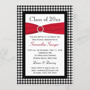 PRINTED RIBBON Red Black White Graduation Invite