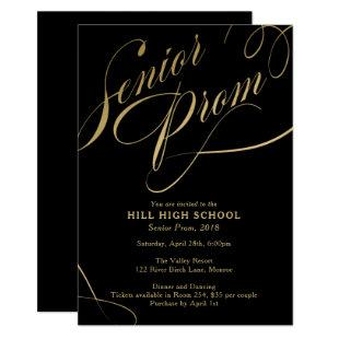Prom Invitation, Black & Gold Script  Senior Prom Invitation