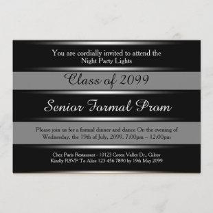 Prom senior formal class 2099,black silver,trendy invitation