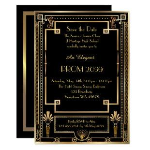 Prom Senior-Junior, Black Gold Geometric, Art Deco Invitation