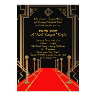 Prom Senior-Junior, Gatsby style, Red Carpet Night Invitation