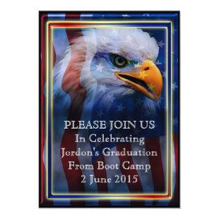 Proud Bald Eagle Boot camp Graduation Invitation