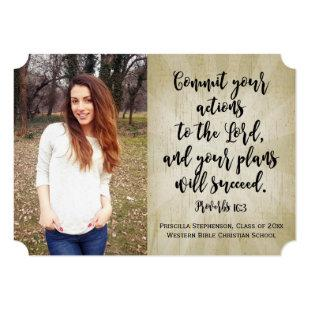 Proverbs 16 Christian Bible Verse Photo Graduation Invitation