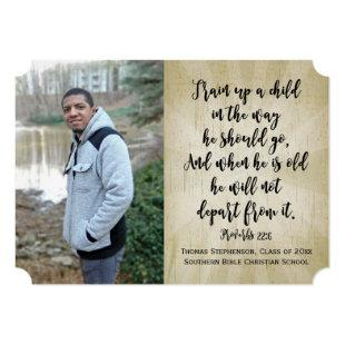 Proverbs 22 Christian Bible Verse Photo Graduation Invitation