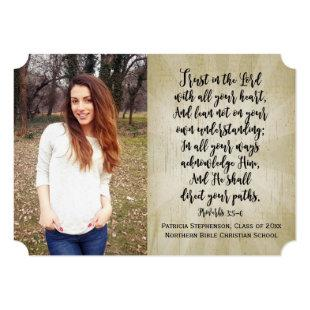 Proverbs 3 Christian Bible Verse Photo Graduation Invitation