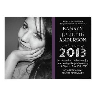Purple Accent Black White Large Photo Graduation Invitation