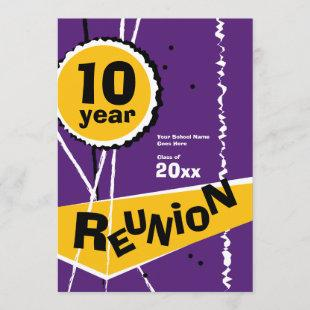 Purple and Gold 10 Year Class Reunion Invitation