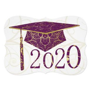 Purple and Gold Floral Cap 2020Card Invitation