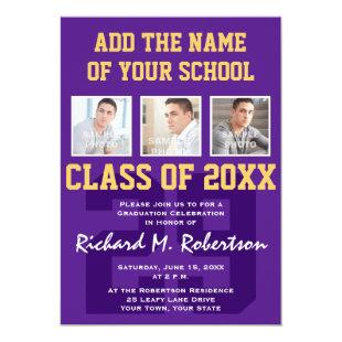 Purple and Gold Football Player's Graduation Party Invitation