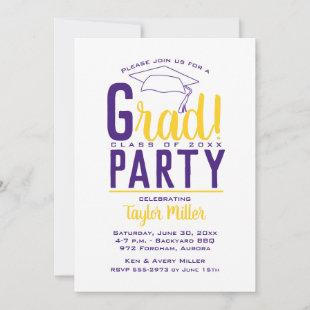 Purple and Gold Graduation Party Invitations