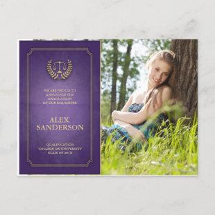 Purple and Gold Law School Graduation Announcement