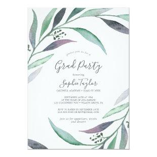 Purple and Green Eucalyptus Graduation Party Invitation