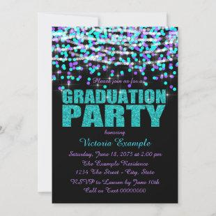 Purple and Teal Blue Confetti Graduation Party