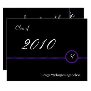 Purple & Black Monogram Photo Invitation