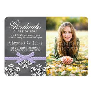 Purple Bow Chalkboard Lace Graduation Announcement