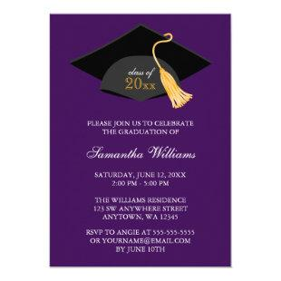 Purple Cap and Tassel Graduation Announcement