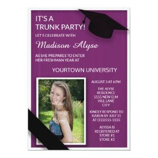 Purple College Trunk Party Photo Invitation