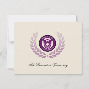 Purple College University Graduation Announcements