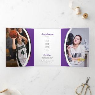 Purple Curved Frame Three Photo Graduation Tri-Fold Invitation
