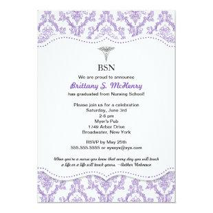 Purple Damask Nurse graduation pinning invites