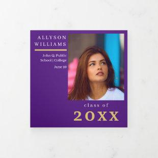 Purple Elegant Classy 8 Photo Graduation Tri-Fold Announcement