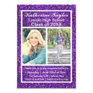 Purple Faux Glitter - 3x5 Grad Announcement