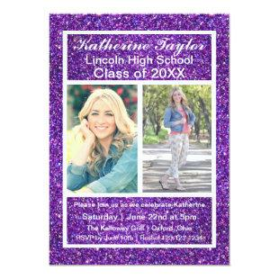 Purple Faux Glitter - Grad Announcement