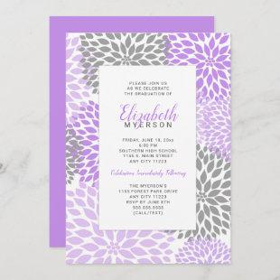 Purple Floral Graduation celebration invitations