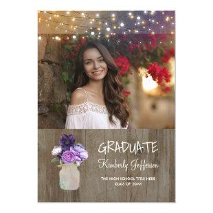 Purple Floral Mason Jar Rustic Photo Graduation Invitation