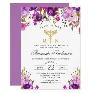 Purple Floral Modern Nursing School Graduation Invitation