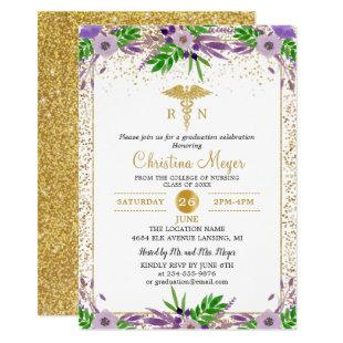 Purple Floral RN Nursing School Graduation Party Invitation