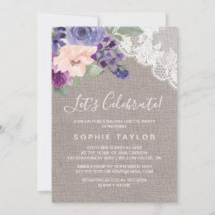 Purple Flowers and Lace Let's Celebrate Invitation