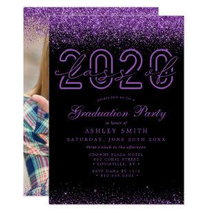 Purple Glitter Black Photo 2020 Graduation Invitation