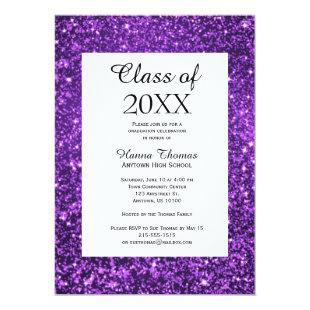 Purple Glitter Glitz Glam Graduation Invitation