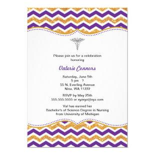 Purple & Gold Glitter Nurse Graduation RN BSN Invitation