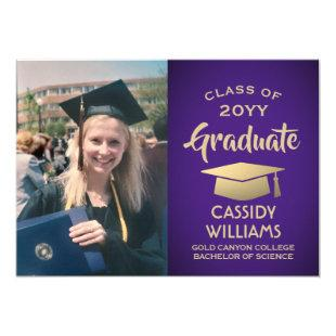 Purple Gold Graduate Photo Modern 2020 Graduation Invitation