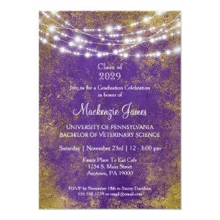 Purple Gold Lights Graduation Party Invitation