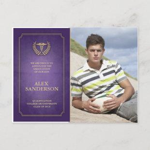 Purple/Gold Medical School Graduation Announcement