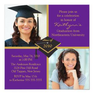 Purple & Gold Photo Graduation Invitation