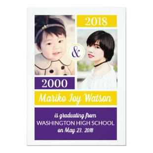 Purple Gold School Colors Then and Now Graduation Invitation