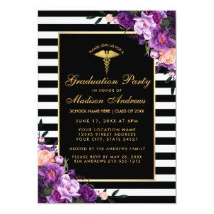 Purple Gold Striped Medical Graduation Invite