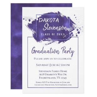 Purple Graduation | Paint Splatter Grad Year Party Invitation
