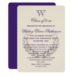 Purple Letter Monogram Classic College Graduation Invitation