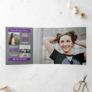 Purple Modern Block 5-Photo Graduation Tri-Fold Invitation