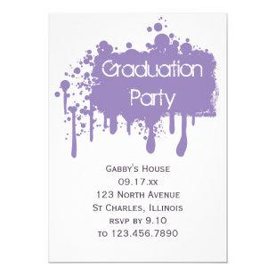 Purple Paint Graduation Party Invitation