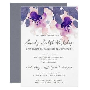 PURPLE PINK INK WATERCOLOR FLORAL WORKSHOP EVENT INVITATION
