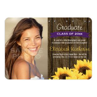 Purple Sunflower Graduation Announcement
